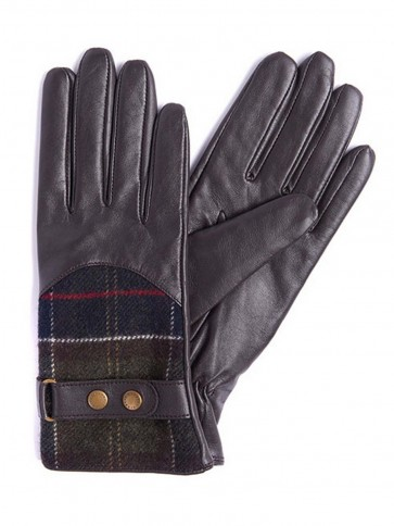 Barbour Dee Tartan Gloves Dark Brown