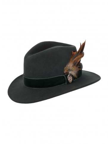 Hicks and Brown Chelsworth Fedora Coque and Pheasant Olive Green