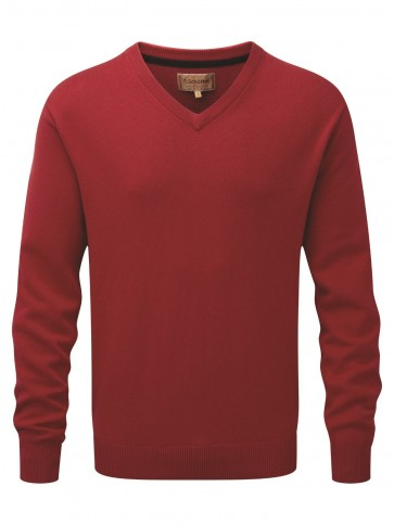 Schoffel Cotton Cashmere V Neck Rich Red