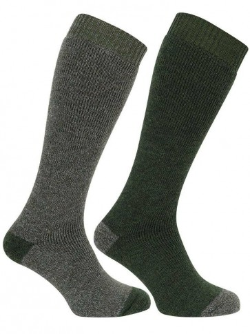 Long Welly Sock (Twin Pack) Tweed/Loden
