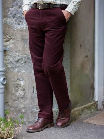 Hoggs of Fife Monarch Moleskin Trousers Old Claret