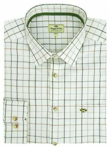 Hoggs of Fife Balmoral Luxury Tattersall Shirt Green/Brown