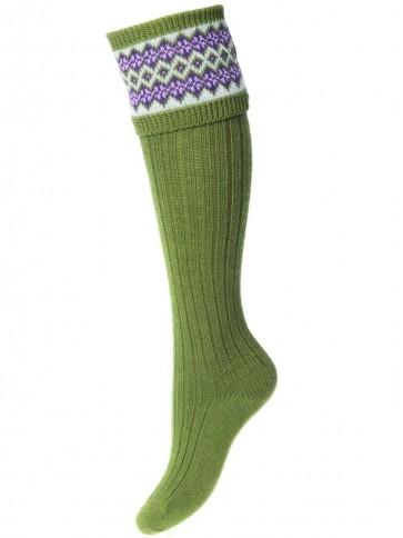House of Cheviot Lady Fairisle Socks Moss