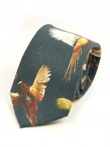 Laksen Pheasant Wool Tie Navy
