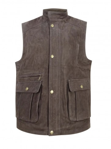 Hoggs of Fife Lomond Leather Waistcoat Chocolate