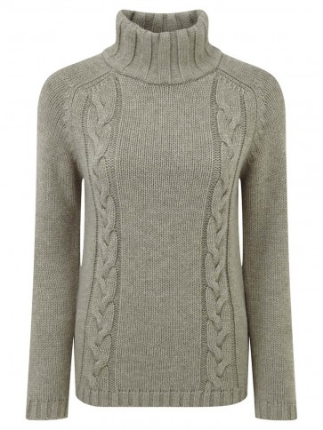 Schoffel Merino Cable Roll Neck Mink