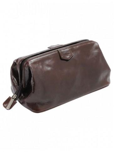 R M Williams Large Leather Washbag Dark Brown