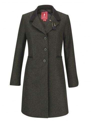 Jack Murphy Isabella Tweed Coat Green Herringbone