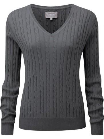 Schoffel Cotton Cashmere Cable Knit V Neck Jumper Flannel