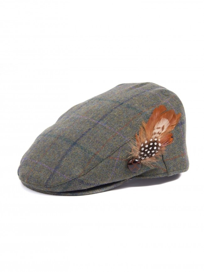 ef57884a580 Barbour Green and Blue Check Tweed Flat Cap · Zoom