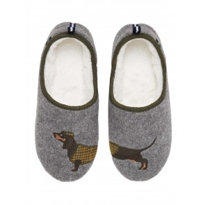 Joules Slip on Felt Slippers Grey Dachshund