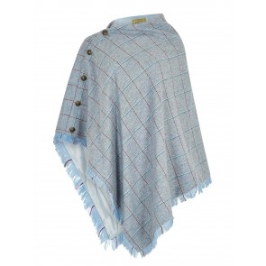 Dubarry Hazelwood Tweed Poncho Blue Heather