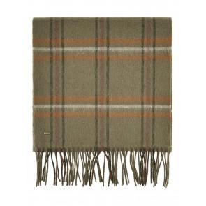 Dubarry Cullen Wool Plaid Scarf Dusky Green