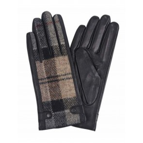 Barbour Galloway Leather Gloves Winter Tartan/Black