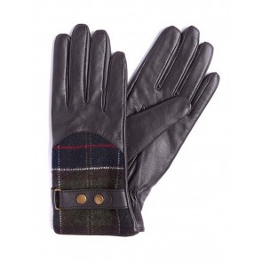 Barbour Dee Tartan Gloves Dark Brown