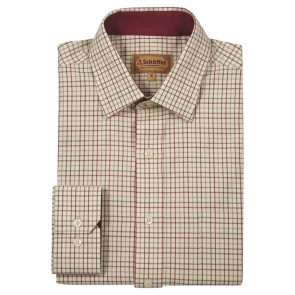 Schoffel Burnham Tattersall Red/Green Checked Shirt