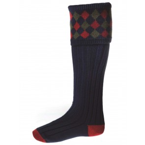 House of Cheviot Chequers Shooting Socks Navy