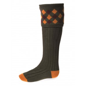House of Cheviot Chequers Shooting Socks Spruce