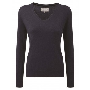 Schoffel Cotton Cashmere V Neck Jumper Indigo