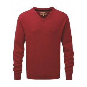 Schoffel Cotton Cashmere V Neck Rich Red