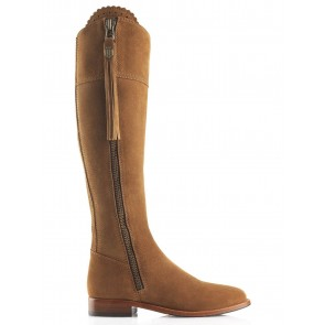 Fairfax and Favor Regina Flat Boots Tan Suede