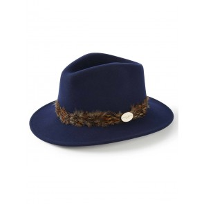 Hicks and Brown The Pheasant Wrap Suffolk Fedora Navy