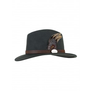 Hicks and Brown The Guinea and Pheasant Fedora Hat Olive Green