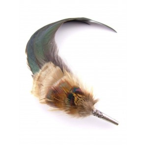 Hicks and Brown Feather Brooch/Hat Pin Bronze Coque and Pheasant