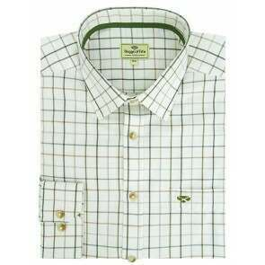 Hoggs of Fife Balmoral Luxury Tattersall Shirt Green/Brown