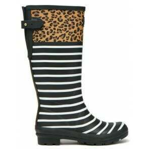 Joules Printed Welly Tan Leopard Stripe