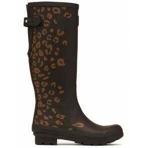 Joules Printed Wellies Brown Leopard