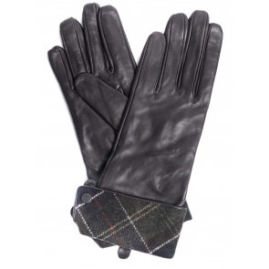 Barbour Lady Jane Leather Gloves Chocolate