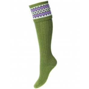 House of Cheviot Lady Fairisle Socks Moss