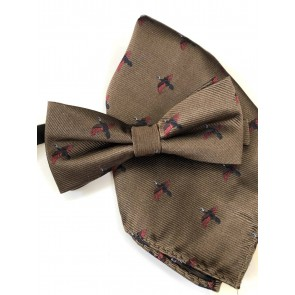 Laksen Pheasant Bow Tie and Pocket Square Set Camel