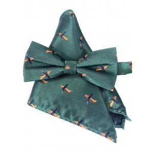 Laksen Pheasant Bow Tie and Pocket Square Set Racing Green