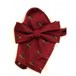 Laksen Pheasant Bow Tie and Pocket Square Set Red