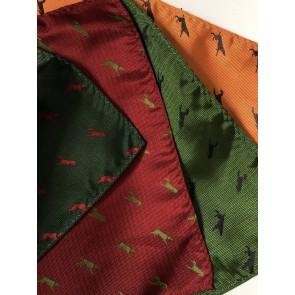 Laksen Silk Dog Motif Pocket Square Handkerchief