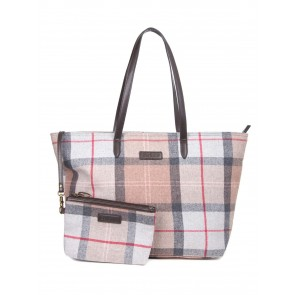 Barbour Witford Tartan Tote Taupe/Pink