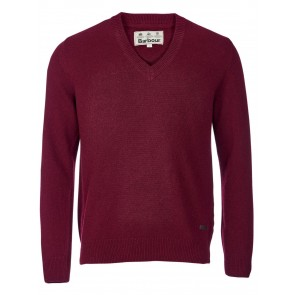 Barbour Nelson Essential V Neck Jumper Merlot