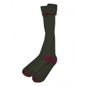 Barbour Contrast Gun Stockings Olive and Cranberry