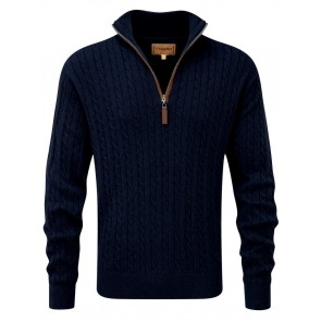 Schoffel Cotton Cashmere Cable 1/4 Zip Jumper Navy