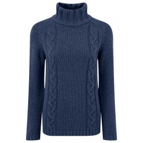 Schoffel Merino Cable Roll Neck Indigo