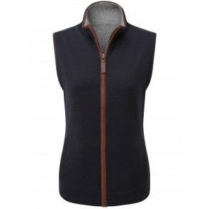 Schoffel Ladies Reversible Merino/Cashmere Gilet Navy/Grey