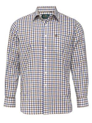 Alan Paine Ilkley Kids Shirt Brown/Blue Check