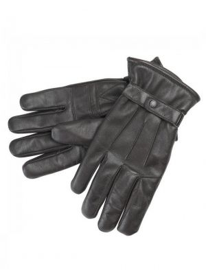 Barbour Burnished Leather Glove Dark Brown